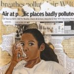 Girl taking inhaler with pollution newsprint as the background