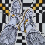 Sneakers outlined on checkered floor