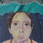 Girl looking up into rain