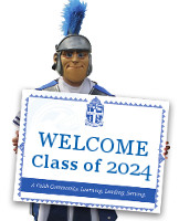 Trojan Mascot holding Class of 2024 sign