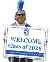 Trojan Mascot holding Class of 2025 sign
