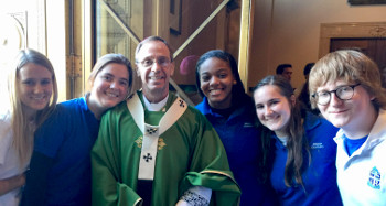 Students and Archbishop after the mass