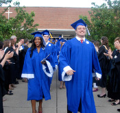 Students exiting school at graduation
