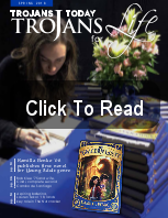 Trojan Tribune Logo directing you to click on the photo to view the magazine as a flipbook